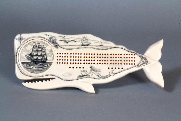Engraved Whale Cribbage Board