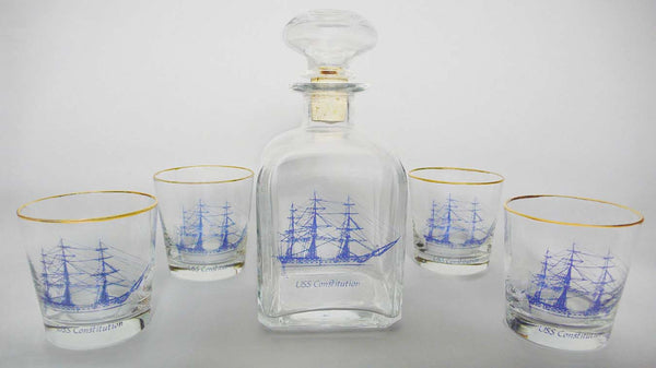 USS Constitution Decanter and Set of 4 Old Fashioned Glasses