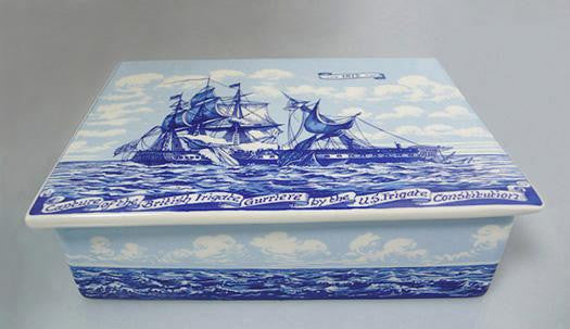 Delft Ceramic Box with Battle Motif