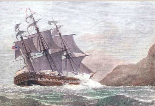 American Frigate Constitution On Shore at Swanage Point February 1, 1879