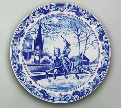 Midnight Ride of Paul Revere Delft Blue Plate