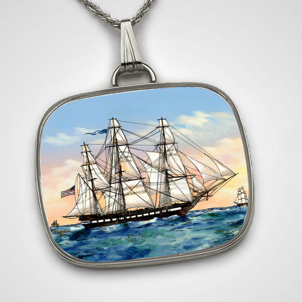 Sterling Silver Necklace with USS Constitution