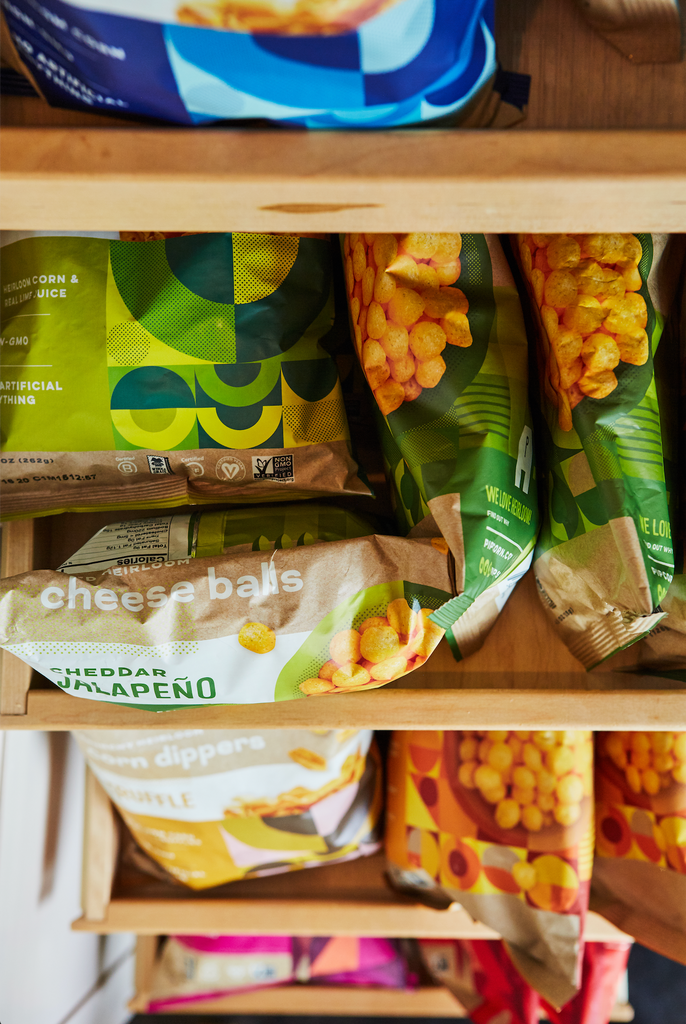 pantry organization, shelfie, pipcorn heirloom snacks