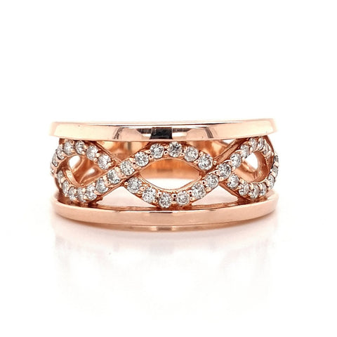 14k Rose Gold Diamond Twist Ring