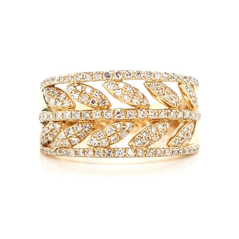 14k Yellow Gold Diamond Laurel Ring