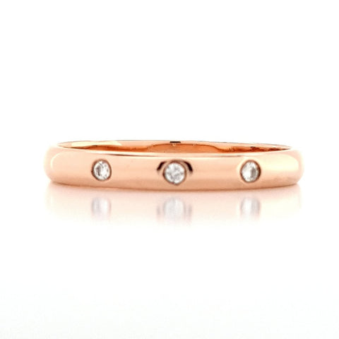 9ct Rose Gold Hammer Set Diamond Band