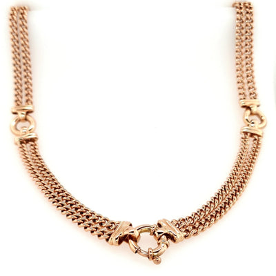Solid 9ct Rose Gold Double Heavy Curb Necklace