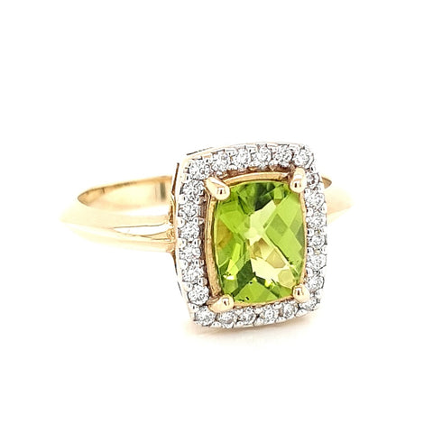 9k Peridot and Diamond Ring