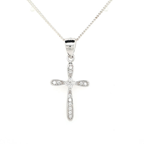 Sterling Silver Bead Set Cubic Zirconia Cross