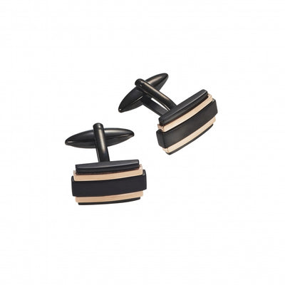 Black and Rose Stainless Steel Cufflinks