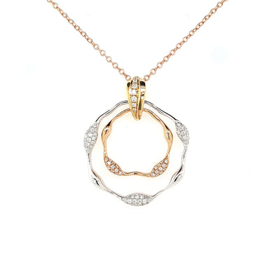 14k Three Tone Diamond Necklace