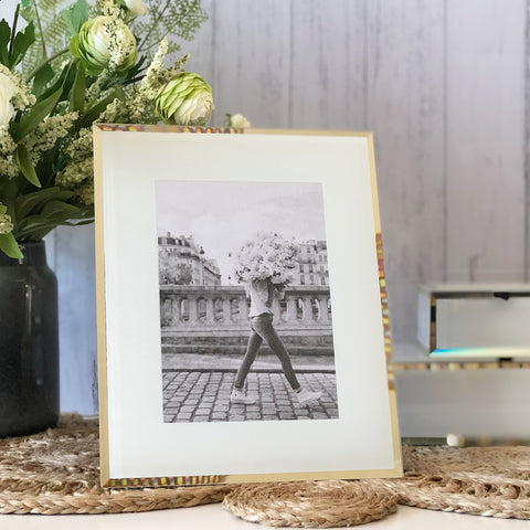 White and Gold Glass Photo Frame