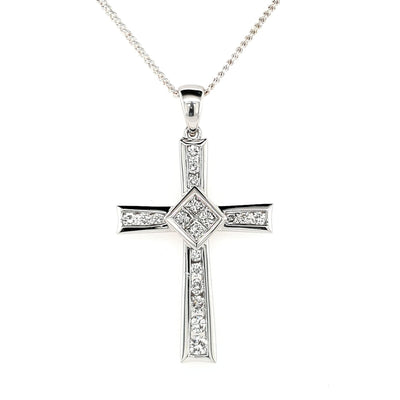 18k Diamond Set Cross