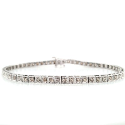 9k Square 1ct Diamond Tennis Bracelet