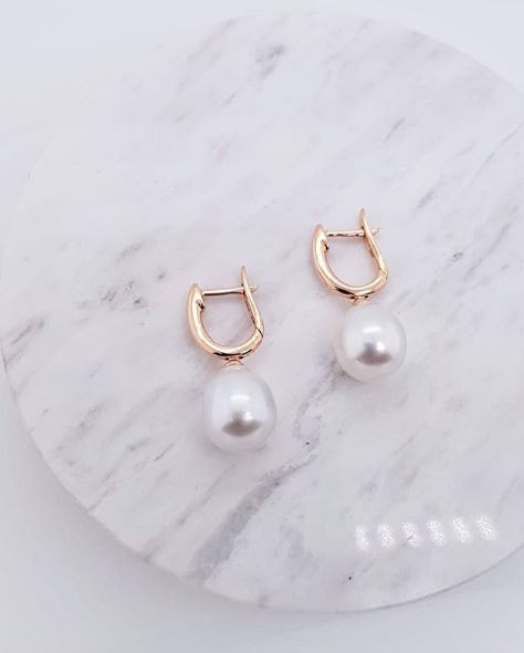 18K South Sea Pearl Huggies