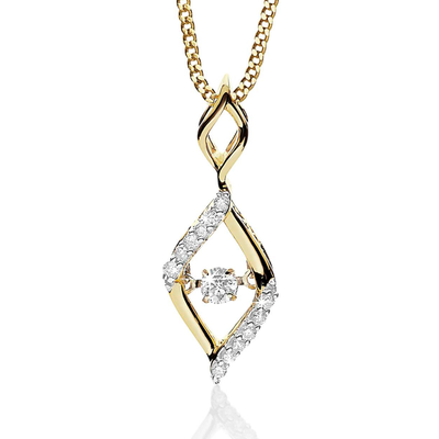 9k Dancing Diamonds Flame Pendant