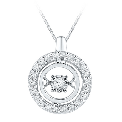 9k Dancing Diamonds Halo Pendant