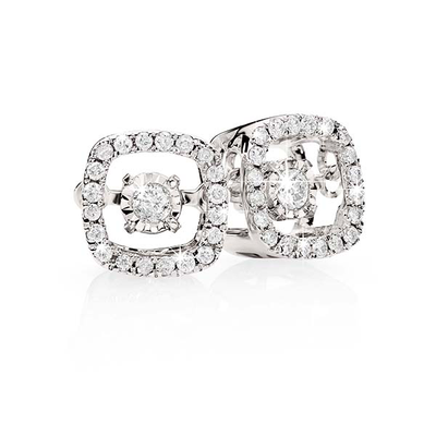 9k Dancing Diamond Cushion Studs