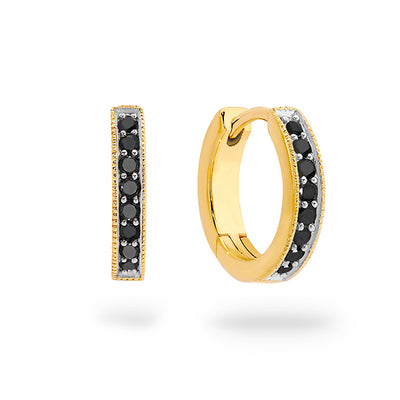9k Gold Black Diamond Huggies