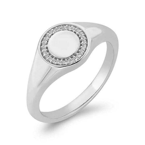 9k Round Top Diamond Signet Ring