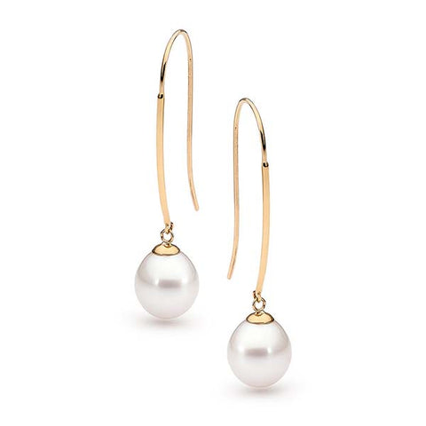 9ct Yellow Gold Long Freshwater Pearl Hooks