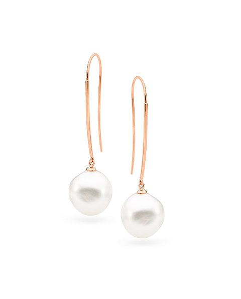 9ct Yellow Gold Long Baroque Pearl Hooks