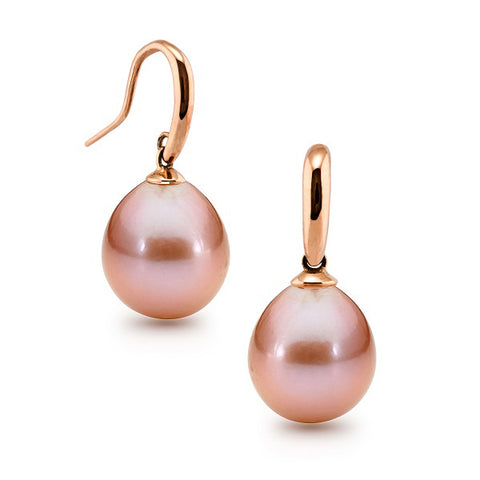 9ct Rose Gold Pink Edison Pearl Hooks