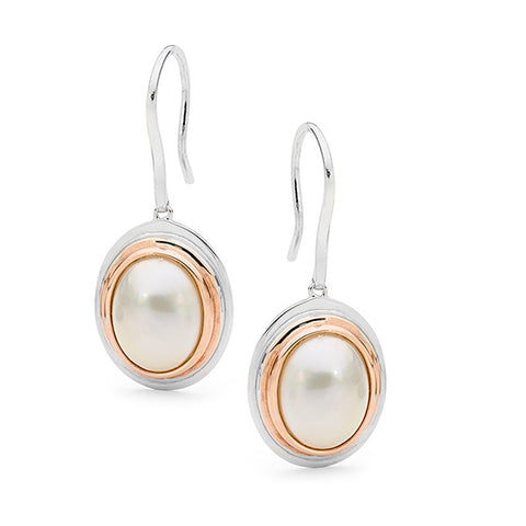 Sterling Silver Rose Gold Vermeil Mabe Pearl Hooks