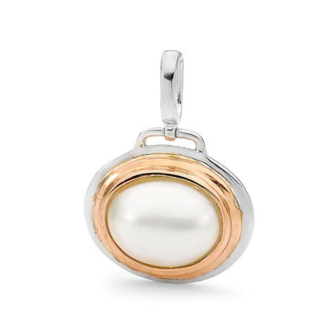 Sterling Silver Rose Gold Vermeil Mabe Pearl Pendant