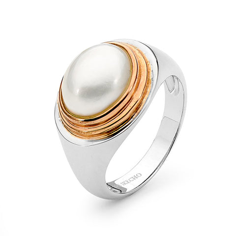 Sterling Silver Rose Gold Vermeil Mabe Pearl Ring
