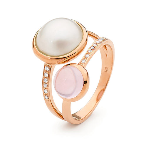 9ct Mabe Pearl Rose Quartz and Diamond Ring