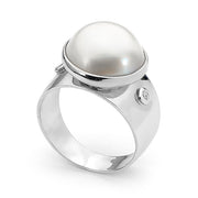 Sterling Silver Mabe Pearl and Cubic Zirconia Ring