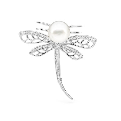 Sterling Silver Pearl and Cubic Zirconia Dragonfly Brooch