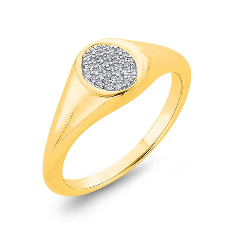 9k Oval Top Pave Set Diamond Signet Ring