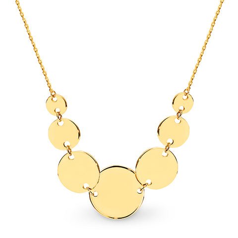 9k Gold Mirror Disc Necklace