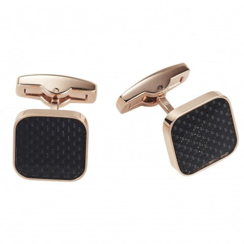 Rose and Carbon Fibre Stainless Steel Cufflinks
