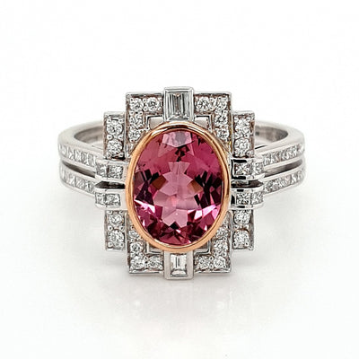 18k Art Deco Pink Tourmaline and Diamond Ring