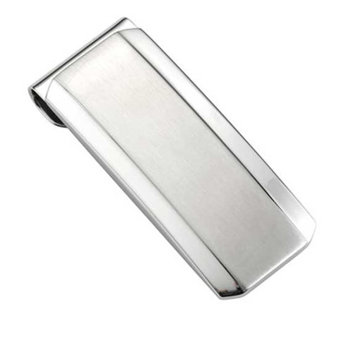 Brush and Polish Finish stainless Steel Money Clip