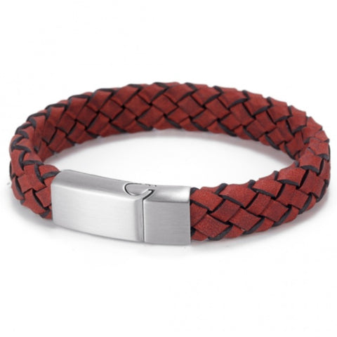 Red Italian Leather Woven Bracelet
