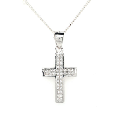 Sterling Silver Pave Set Cubic Zirconia Cross