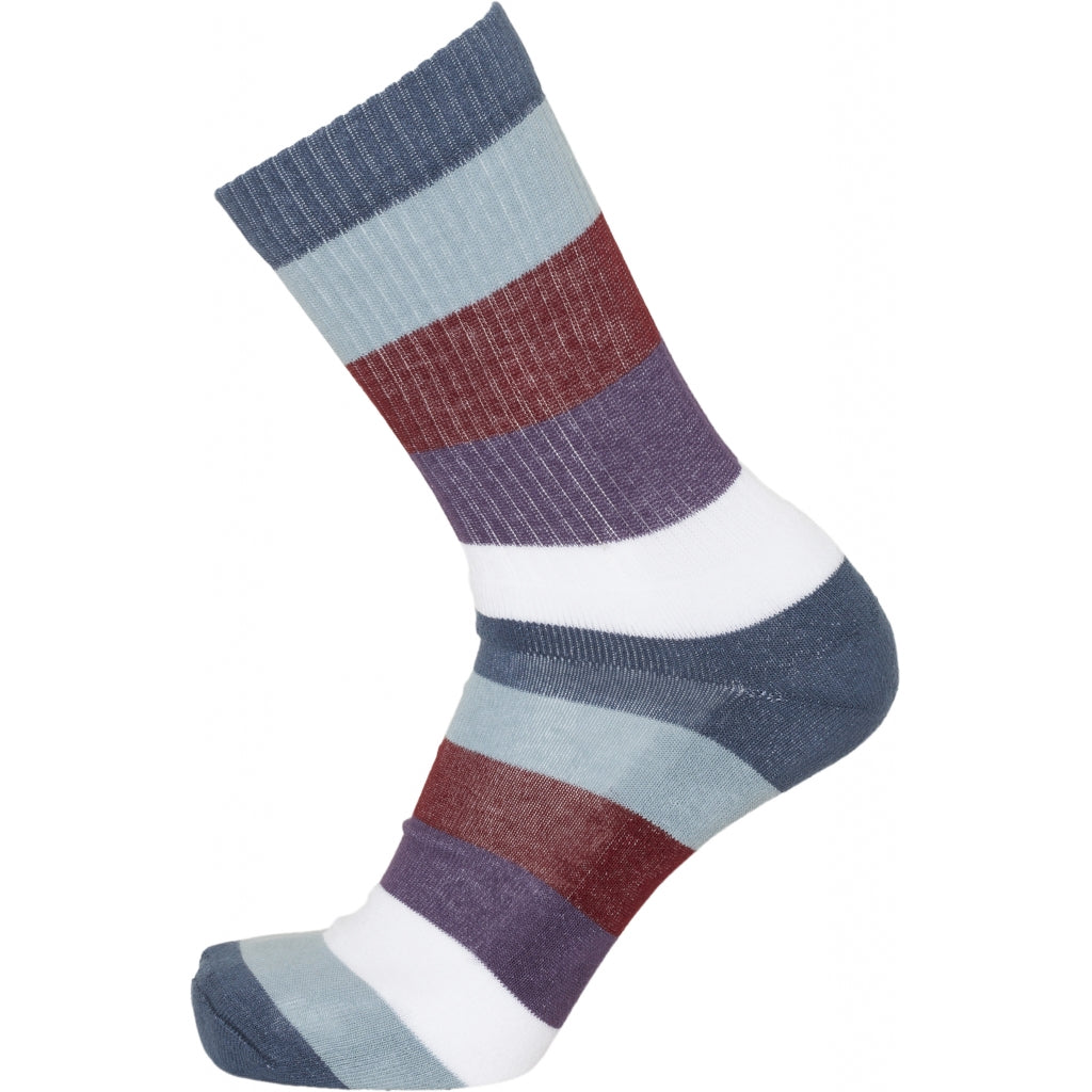 KCA Linden 2 pack block striped socks 83115 Moonlite ocean 1307