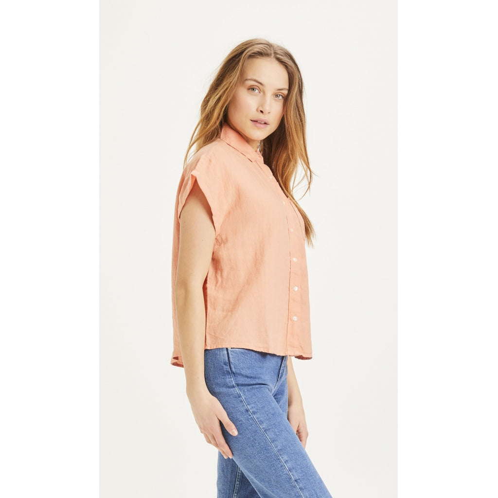 KCA 900005 Aster fold up short sleeve linen shirt 1327 Shrimp women