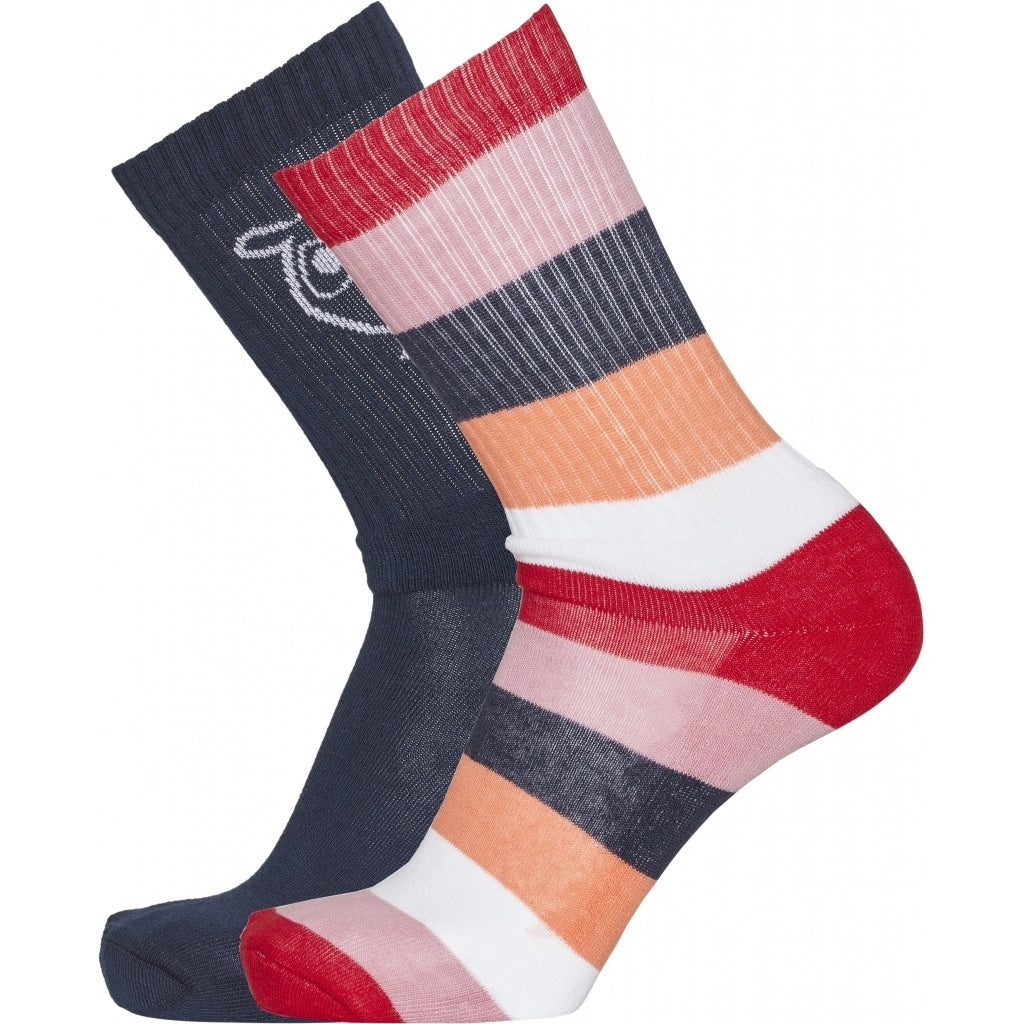 KCA Linden 2 pack block striped socks 83115 Scarlet 1293