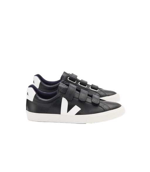 VEJA 3-Lock Leather Black White Women