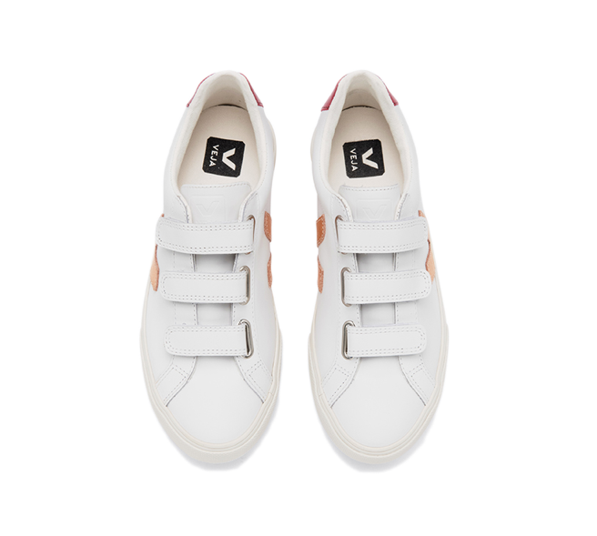 VEJA 3-Lock Leather White Venus Marsala Women