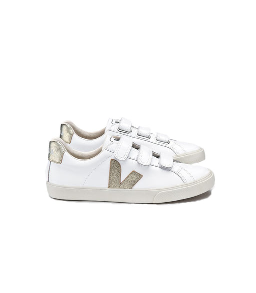 VEJA 3-Lock Leather White Gold Women