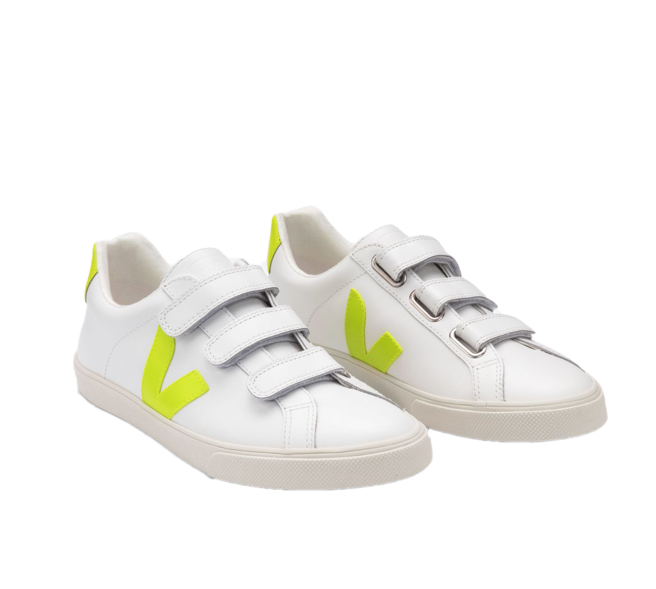 VEJA 3 Lock Leather White jaune fluo women