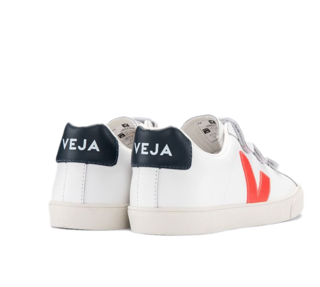 VEJA 3 Lock Leather White Orange fluo Nautico women