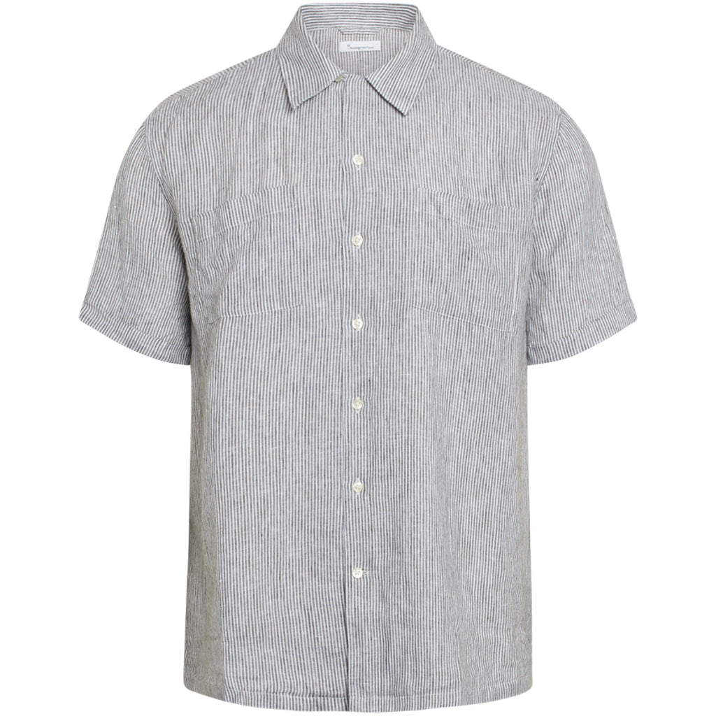 KCA 90830 Wave short sleeve striped shirt 1090 Forrest night