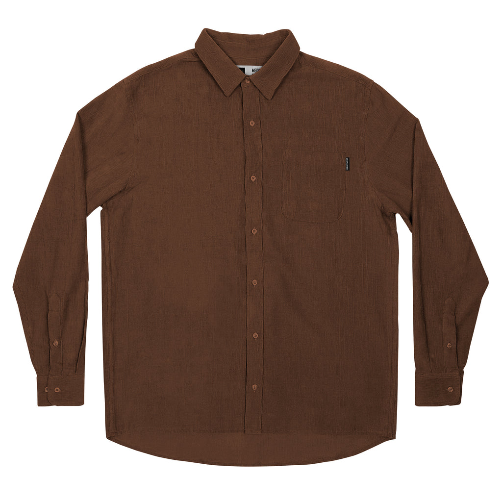 DEDICATED Varberg Corduroy Mocha Brown Shirt